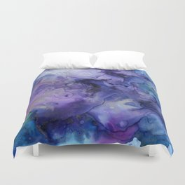 Abstract Watercolor, Ink Prints, Indigo, Blue, Purple Duvet Cover