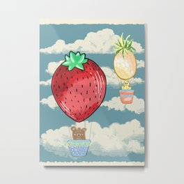 strawberry and pineapple hot air balloon Metal Print