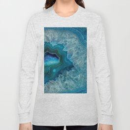 Teal Druzy Agate Quartz Long Sleeve T-shirt