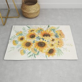 Loose Watercolor Sunflowers Rug