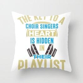 Choir Singer Key to Heart Musical Orchestra Lover Throw Pillow