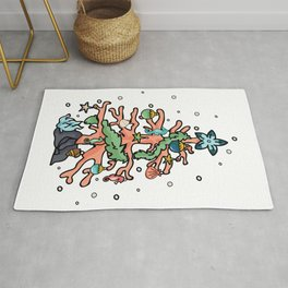 Cute coral reef christmas tree cartoon illustration motif set. Rug