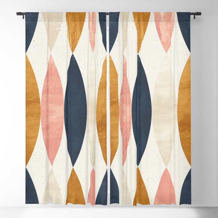 Colorful Pastel Geometric Scale Pattern Pink Navy Gold Art Deco Blackout Curtain