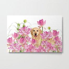 Labrador Retrievers with Lotos Flower Metal Print