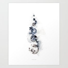 Stacked Moons (blue) Art Print