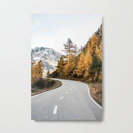 Golden PNW Roadtrip Nature Photo of Forest & Mountain Range Metal Print