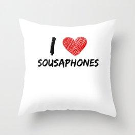 I Love Sousaphones Throw Pillow