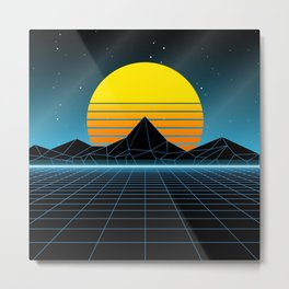 80s Sunset Synthwave Memories Metal Print