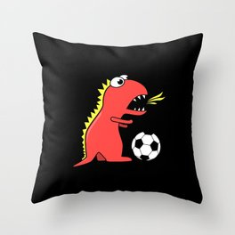 Black Cartoon Dinosaur Soccer Throw Pillow