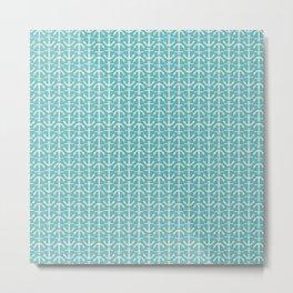 Beach Series Aqua - Maritime Nautical Small Anchor Pattern Metal Print