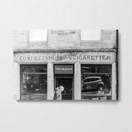 Edinburgh, Travel Photography, Black and White , Café The Milkman, Cigarettes, Street photography Metal Print