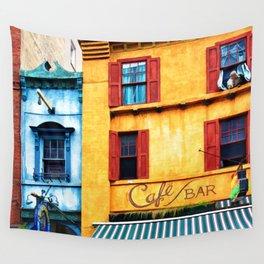 Blue Narrow House Wall Tapestry
