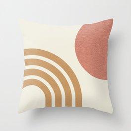 Mid century modern pink Sun & Rainbow Throw Pillow