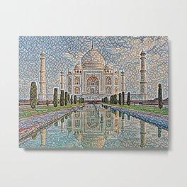 India Taj Mahal Artistic Illustration Carpet Style Metal Print