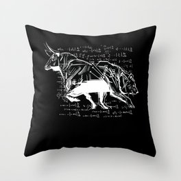 Stock Market Capitalist Bull Bear Stocks Throw Pillow