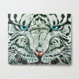 Angry White Tiger Metal Print