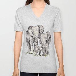 Elephant Family, Elephant Watercolor Painting, Animal Family Unisex V-Neck