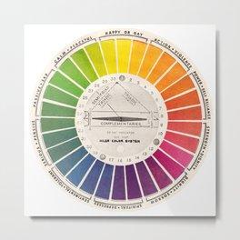 Vintage Color Wheel - Art Teaching Tool - Rainbow Mood Chart Pride Metal Print