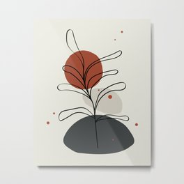 Abstract Minimal Shapes Plants 06 Tropical Modern Illustration Drawing Pattern Texture Metal Print