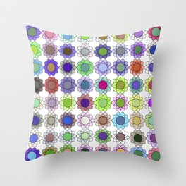 Multi-color atomic flowers Throw Pillow