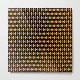 Yellow & Black Diamond shaped Geometric Design Metal Print