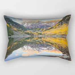 Maroon Bells Autumn Sunrise Aspen Colorado Mountain Fall Landscape Rectangular Pillow