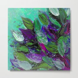 BLOOMING BEAUTIFUL 1 - Floral Painting Mint Green Seafoam Purple White Leaves Petals Summer Flowers Metal Print