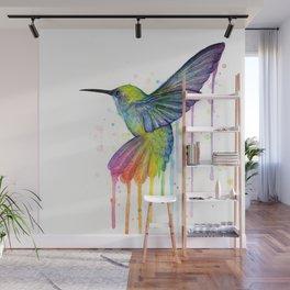 Hummingbird Rainbow Watercolor Wall Mural