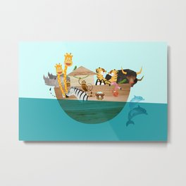 Noahs Ark with Animals– Illustration for the childrens room of girls and boys Metal Print