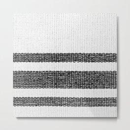 Woven Stripes Black and White Metal Print