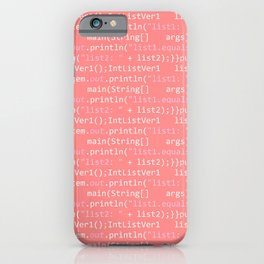 Computer Software Code Pattern in Pink Coral iPhone Case