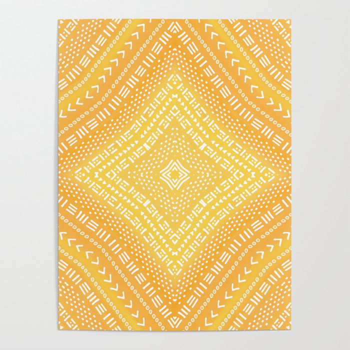 Yellow Boho Kaleidoscope Poster