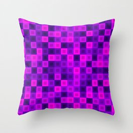 Strict tile of pink intersecting rectangles and violet bricks Throw Pillow