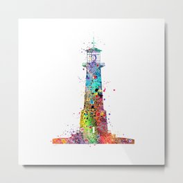Lighthouse Art Gift Colorful Watercolor Art Landscape Adventure Art Travel Gifts Metal Print