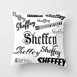 Sheffey Fonts in Black Throw Pillow