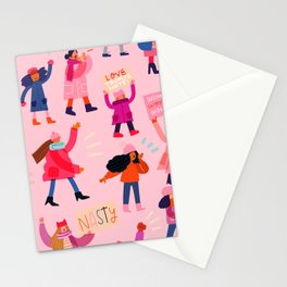 Marching Together: Pink Stationery Cards