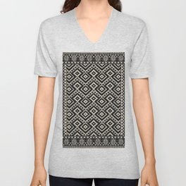 N82 - Geometric Traditional Moroccan Art Pattern Farmhouse Style Unisex V-Neck