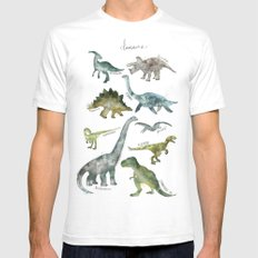 Dinosaurs White SMALL Mens Fitted Tee