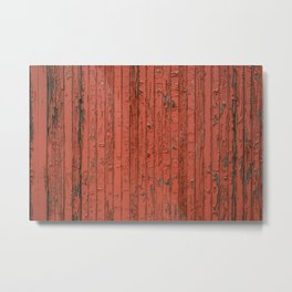 Peeling Red Boxcar Paint Wooden Slats Train Texture Metal Print