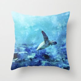 Sea Turtle Into The Deep Blue Throw Pillow