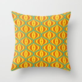 Retro Psychedelic Saucer Pattern in Orange, Yellow, Turquoise Throw Pillow