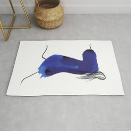 How to be a girl #8 -minimalist girl in bright blue ink Rug