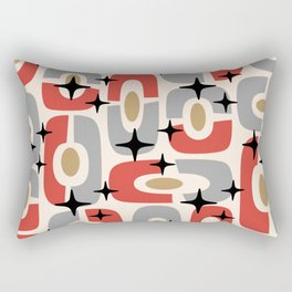 Mid Century Modern Cosmic Abstract 129 Red Gray Gold Black and Beige Rectangular Pillow