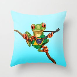 Tree Frog Playing Acoustic Guitar with Flag of Brazil Throw Pillow