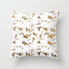 White and Gold Marble Throw Pillow