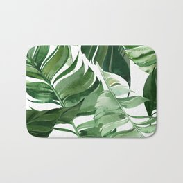 Green leaf watercolor pattern Bath Mat