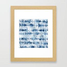 Modern hand painted dark blue tie dye batik watercolor Framed Art Print