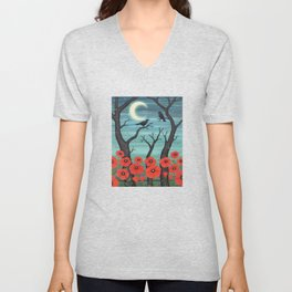 crows, fireflies, and poppies in the moonlight Unisex V-Neck