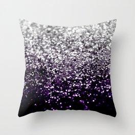 Dark Night Purple Black Silver Glitter #1 #shiny #decor #art #society6 Throw Pillow