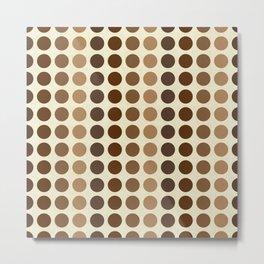 Shades Of Brown Polka Dots-Textured Metal Print